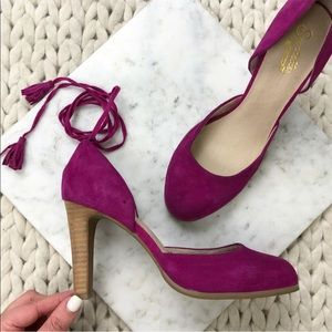 Seychelles Fuchsia Pink Suede Wrap Ankle Heels